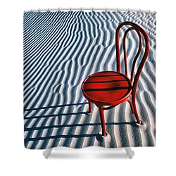Red Chair In Sand Shower Curtain