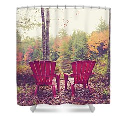 Shower Curtain featuring the photograph Red Chairs By The Lake by Edward Fielding