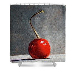 Shower Curtain featuring the painting Red Cherry by Nancy Merkle