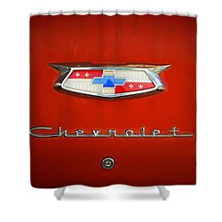Shower Curtain featuring the photograph Red Chevy Bel-air Trunk by Marilyn Hunt