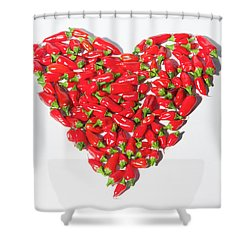 Red Chillie Heart II Shower Curtain