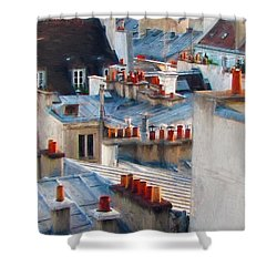 Shower Curtain featuring the photograph Red Chimneys by John Rivera
