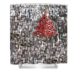 Shower Curtain featuring the photograph Red Christmas Tree by Ulrich Schade