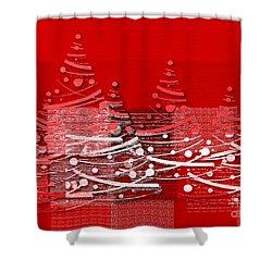 Shower Curtain featuring the digital art Red Christmas Trees by Aimelle