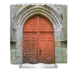 Red Church Door IIi Shower Curtain by Helen Northcott
