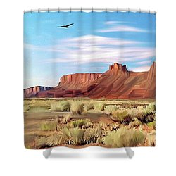 Red Cliff Eagle Shower Curtain