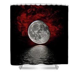 Red Cloud With Moon Over Water Shower Curtain
