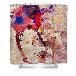 Red Color Splash Shower Curtain