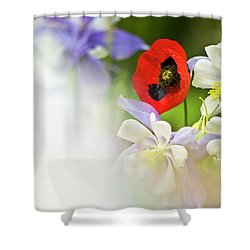 Red Corn Poppy Shower Curtain by Heiko Koehrer-Wagner