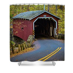 Red Covered Bridge In Lancaster County Park Shower Curtain