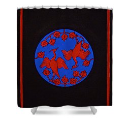 Shower Curtain featuring the painting Red Cranes by Stephanie Moore
