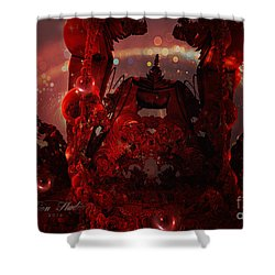 Red Creature Fractal Shower Curtain by Melissa Messick