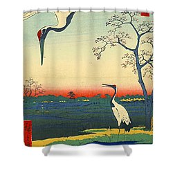 Red Crowned Cranes 1857 Shower Curtain by Padre Art