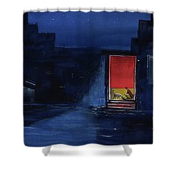 Shower Curtain featuring the painting Red Curtain by Anil Nene