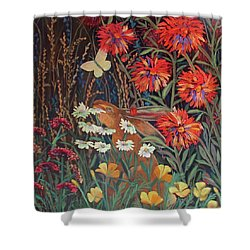 Red Dahlia Garden- Dyptich B Shower Curtain by Susan  Spohn