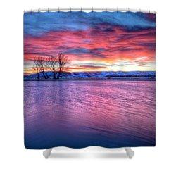 Red Dawn Shower Curtain by Fiskr Larsen
