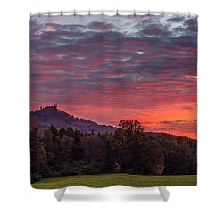 Shower Curtain featuring the photograph Red Dawn Over The Hohenzollern Castle by Dmytro Korol