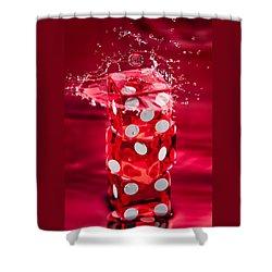 Red Dice Splash Shower Curtain by Steve Gadomski