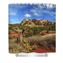 Red Dirt And Cactus In Sedona Shower Curtain by James Eddy