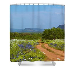 Red Dirt Road With Wild Flowers Shower Curtain