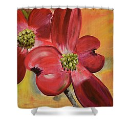 Red Dogwood - Canvas Wine Art Shower Curtain