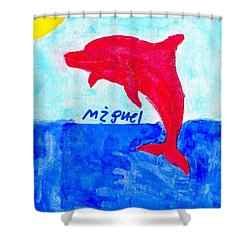 Red Dolphin Shower Curtain
