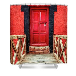 Shower Curtain featuring the photograph Red Door At A Monastery by Alexey Stiop