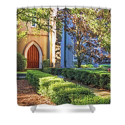 Shower Curtain featuring the photograph Red Door Church by Kim Hojnacki