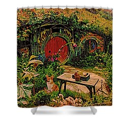 Red Door Hobbit House With Corgi Shower Curtain by Kathy Kelly