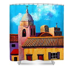 Shower Curtain featuring the painting Red Doors by M Diane Bonaparte