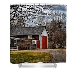 Red Doors Shower Curtain by Tricia Marchlik