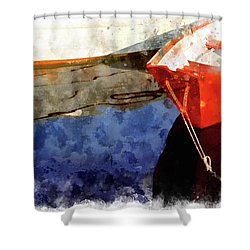 Red Dory Shower Curtain by Peter J Sucy