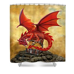 Red Dragon's Treasure Chest Shower Curtain by Glenn Holbrook
