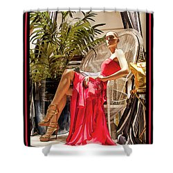 Shower Curtain featuring the photograph Red Dress - Chuck Staley by Chuck Staley