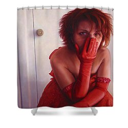 Red Dress Shower Curtain by James W Johnson