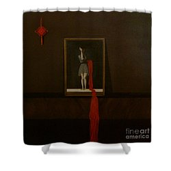 Red Echo Shower Curtain by Fei A