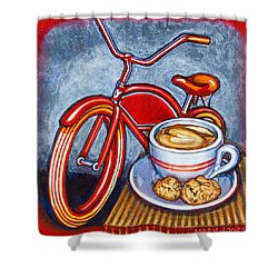 Red Electra Delivery Bicycle Cappuccino And Amaretti Shower Curtain
