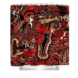 Red Existence Shower Curtain