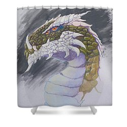Shower Curtain featuring the painting Red Eye Dragon by Robert Decker