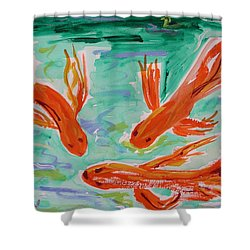 Red Eye Koi Shower Curtain by Mary Carol Williams