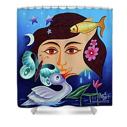 Shower Curtain featuring the painting Red-- Eyed by Ragunath Venkatraman
