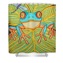 Red Eyed Tree Frog And Dragonfly Shower Curtain by Nick Gustafson