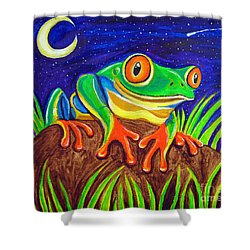 Red-eyed Tree Frog And Starry Night Shower Curtain by Nick Gustafson