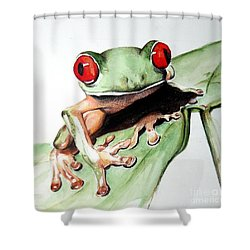Red Eyes Shower Curtain by Ilaria Andreucci