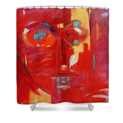 Shower Curtain featuring the painting Red Face by Gary Coleman