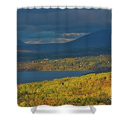 Red Farm House In Evening Light Shower Curtain by Alana Ranney