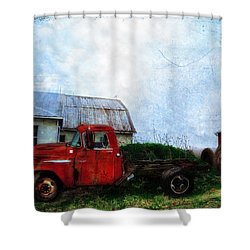 Red Farm Truck Shower Curtain by Bill Cannon