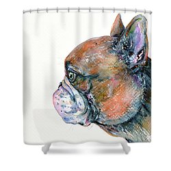 Shower Curtain featuring the painting Red Fawn Frenchie by Zaira Dzhaubaeva