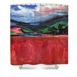 Red Field Landscape Shower Curtain