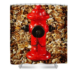 Shower Curtain featuring the photograph Red Fire Hydrant by Andee Design
